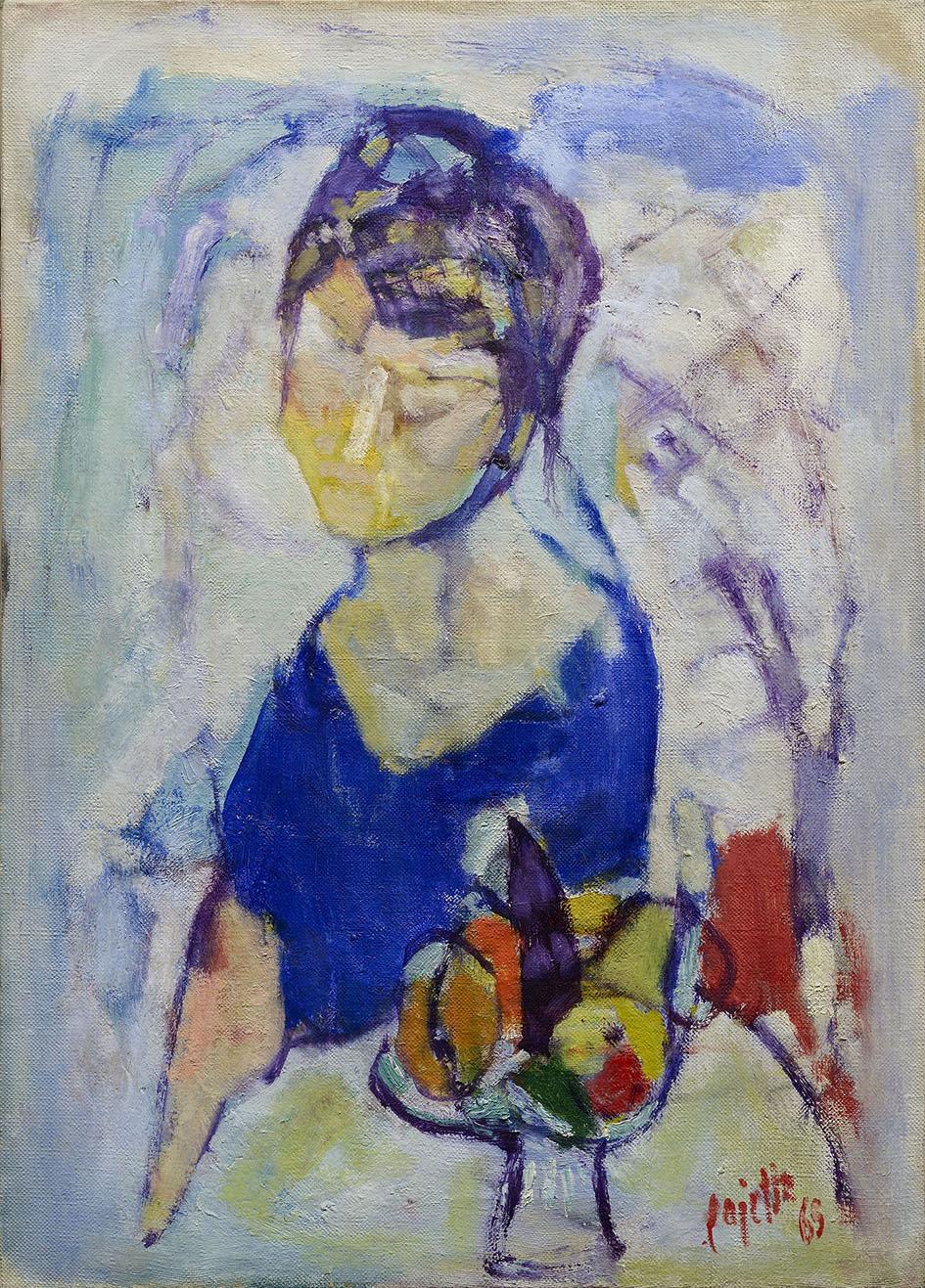 Donna con fruttiera, 1965 olio su tela 70 x 50 cm