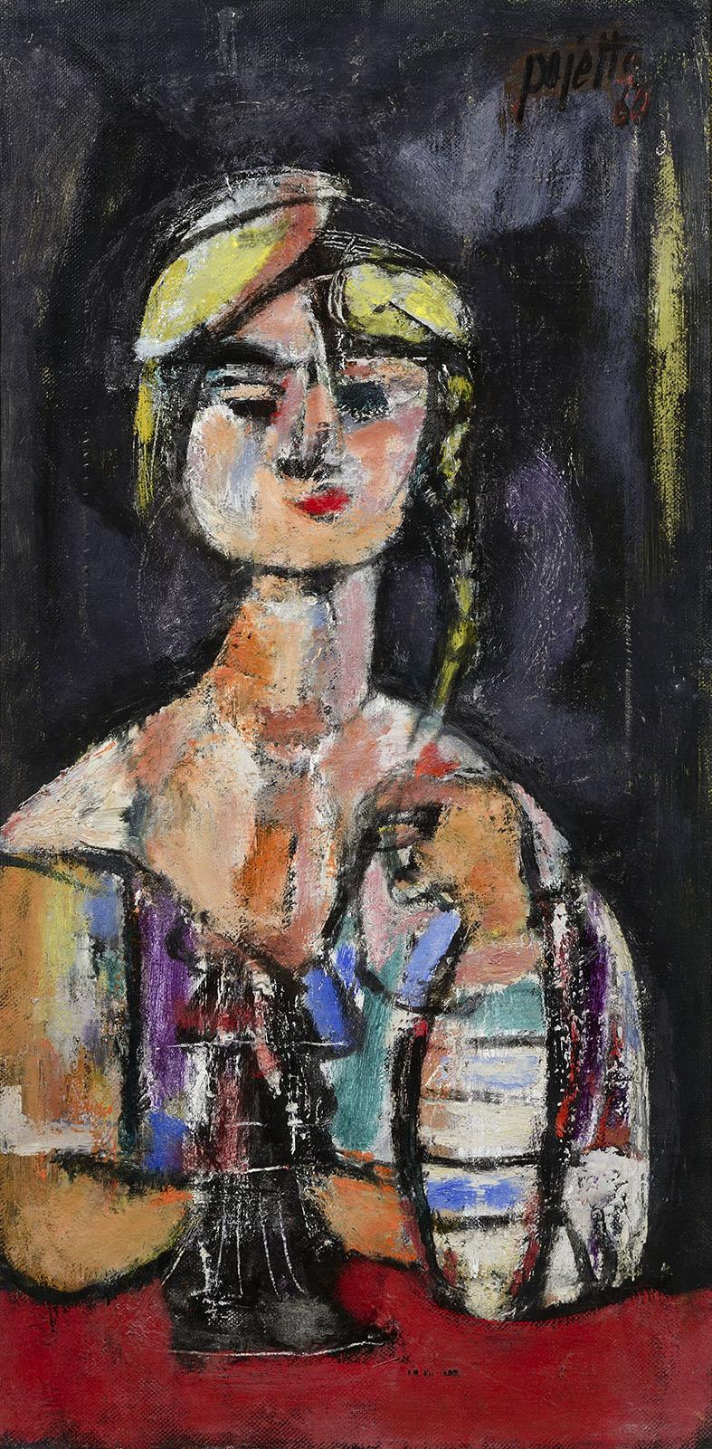 Donna con trecce, 1960 olio su tela, 90x45 cm