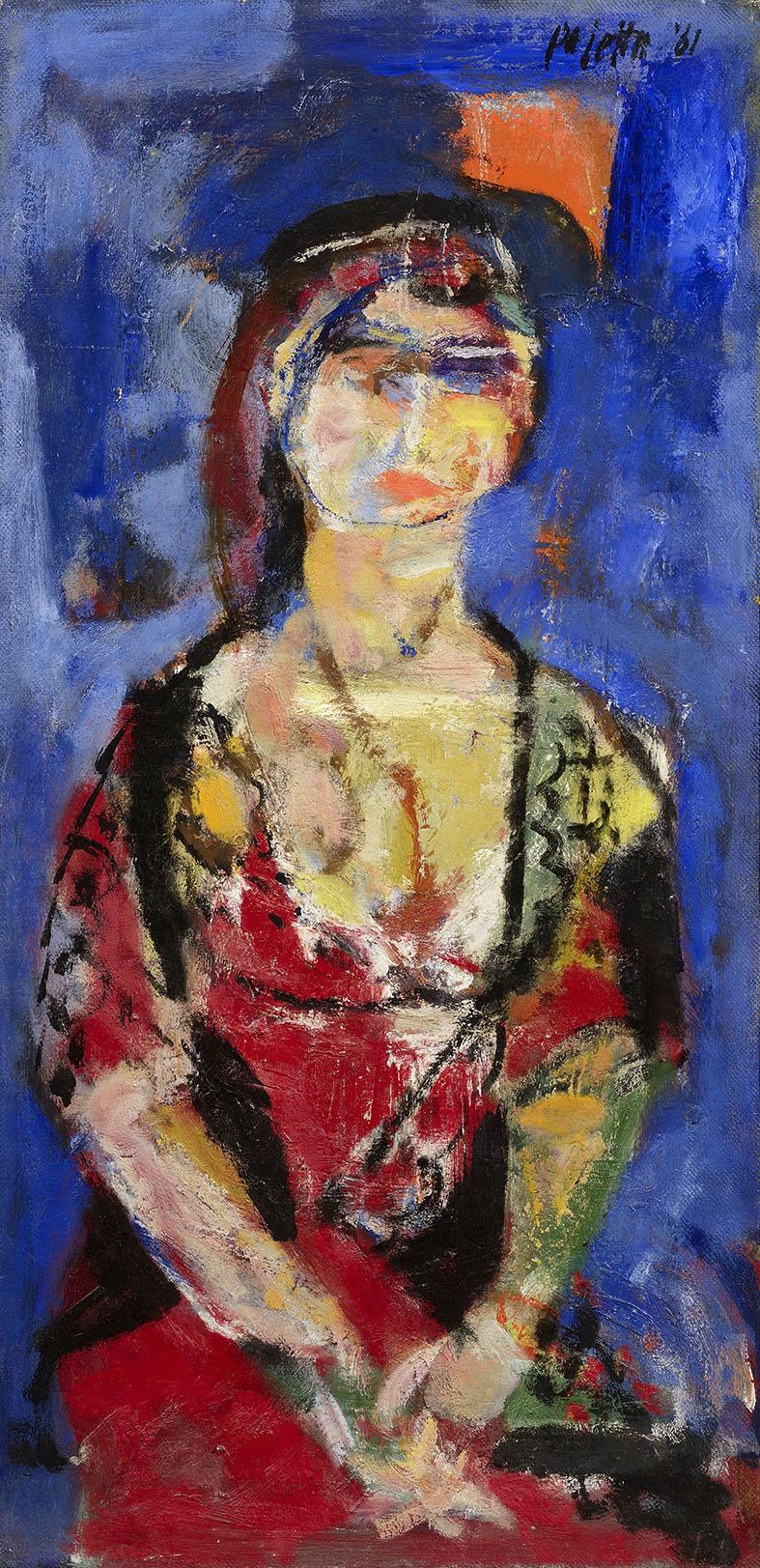 Donna rosso nera, 1961 olio su tela, 90 x 45 cm