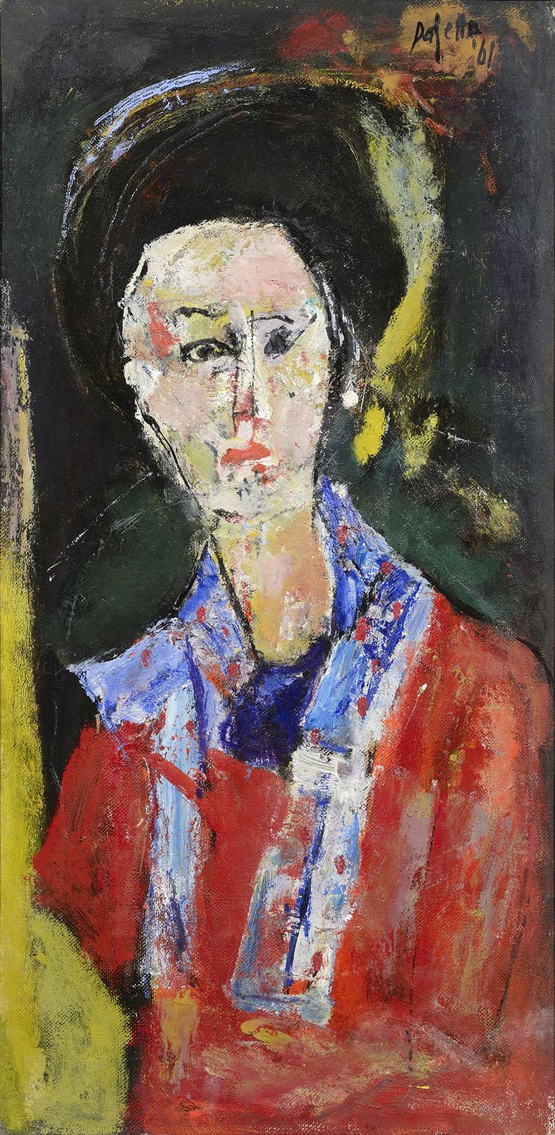 figura con turbante nero, 1961 olio su tela, 90 x 45 cm