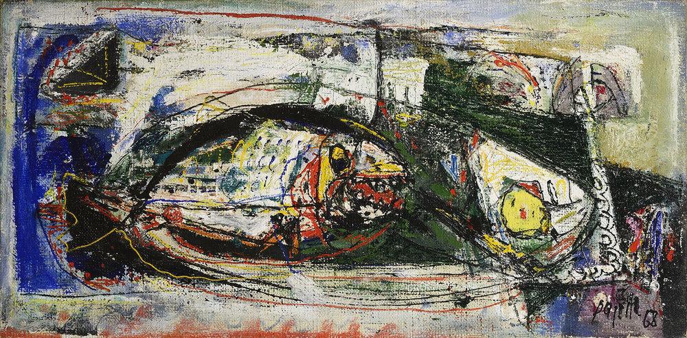 Natura morta con pesce vorace, 1968 acrilico su tela, 45 x 90 cm