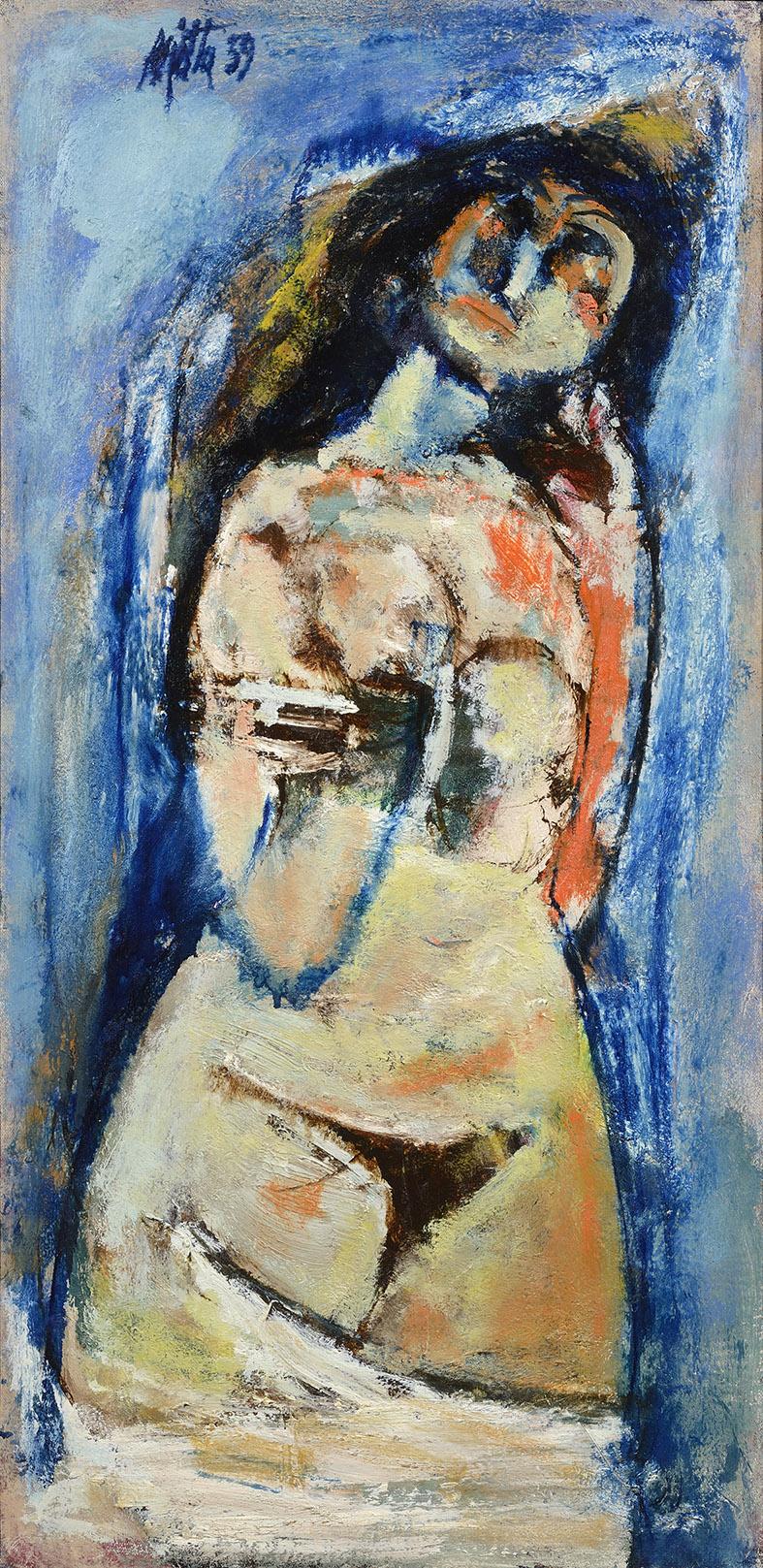 Nudo disvelato, 1959 olio su tela, 90 x 45 cm
