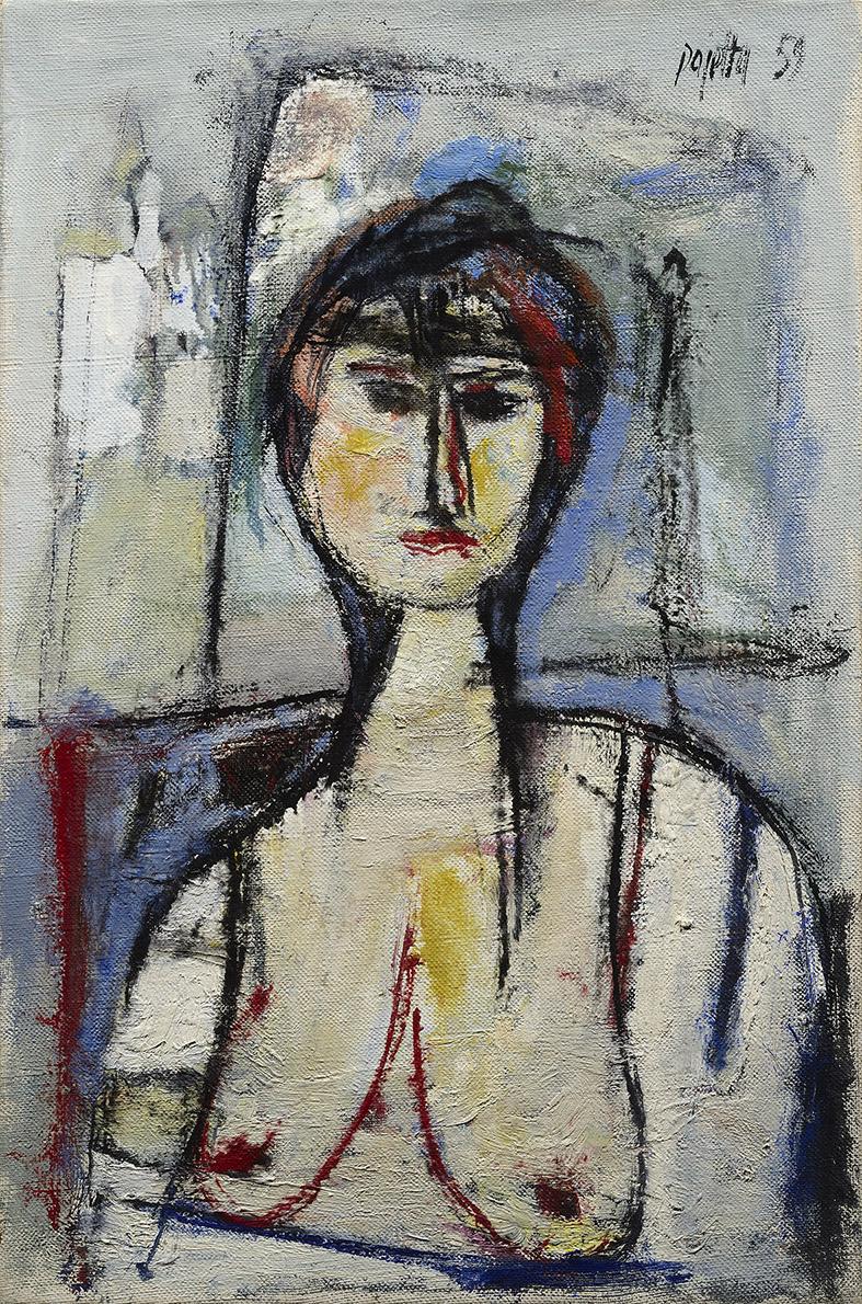Nudo imbronciato, 1959 olio su tela, 60 x 40 cm