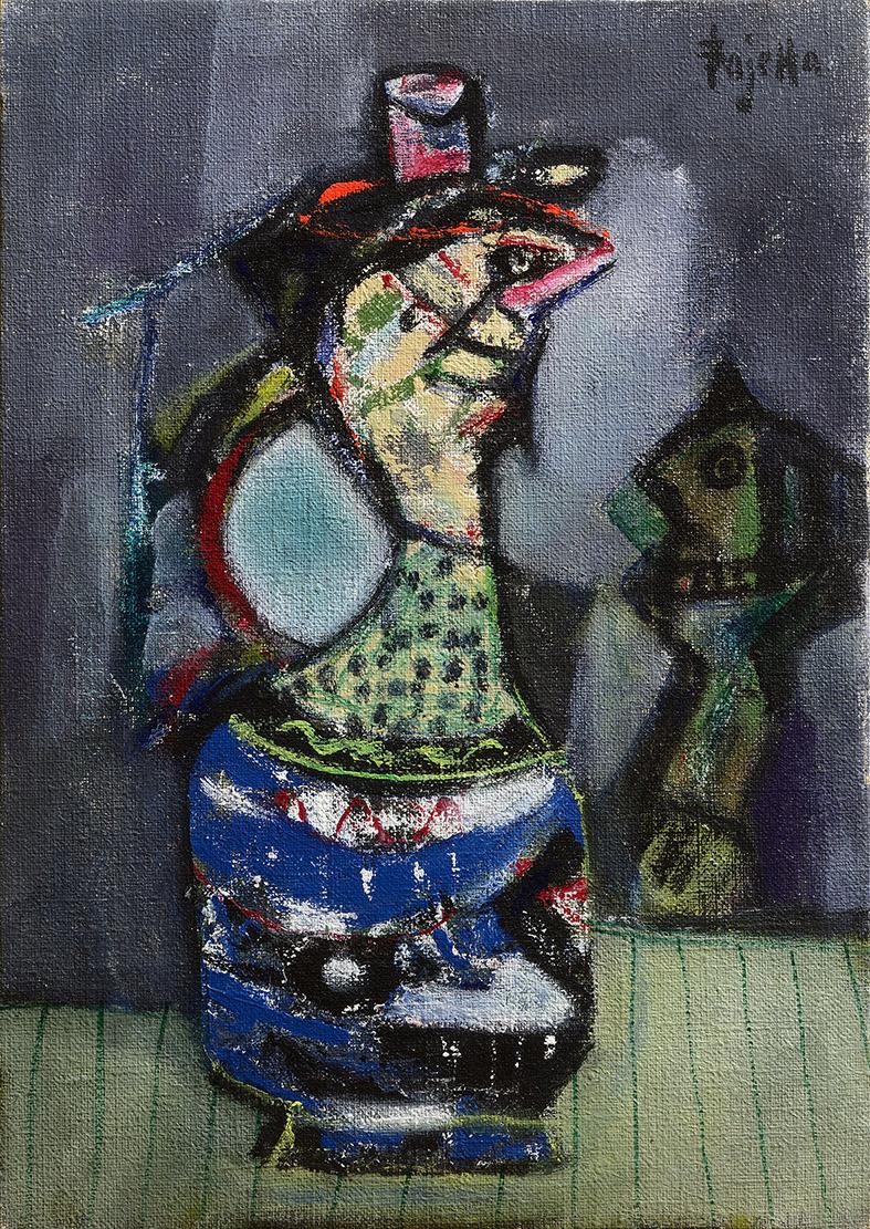 Vasi antropomorfi, 1980 acrilico su tela, 70 x 50 cm