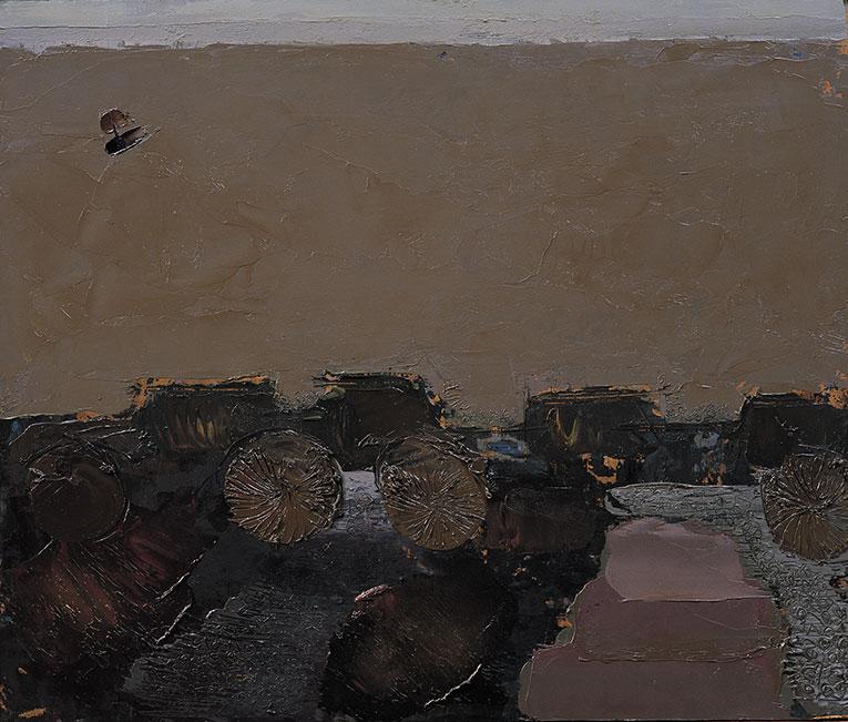 Ganga 4, India 13, 1975, olio su pannello, 80x95 cm
