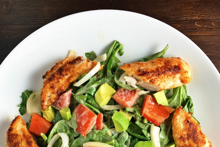 Spinach and Arugula Chicken Salad with a Creamy Balsamic Dressing