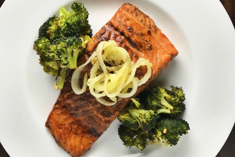 HONEY BALSAMIC SALMON WITH ROASTED BROCCOLI AND CRISPY SHALLOTS