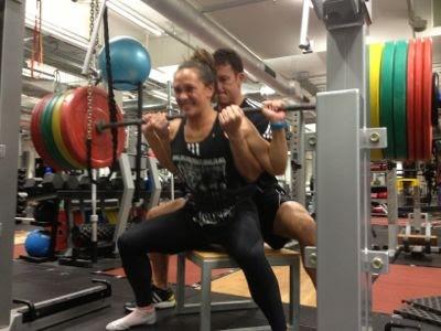 Portia Woodman and Dr. Matt Kritz 1rm testing