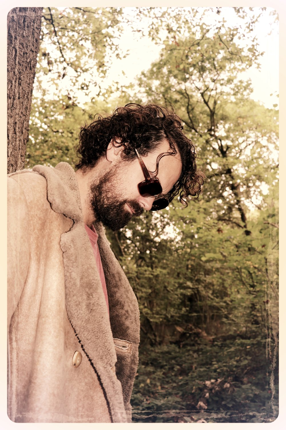 Peep Eyewear, Vintage Sunglasses, Worn against a tree, Autumn Winter Collection
