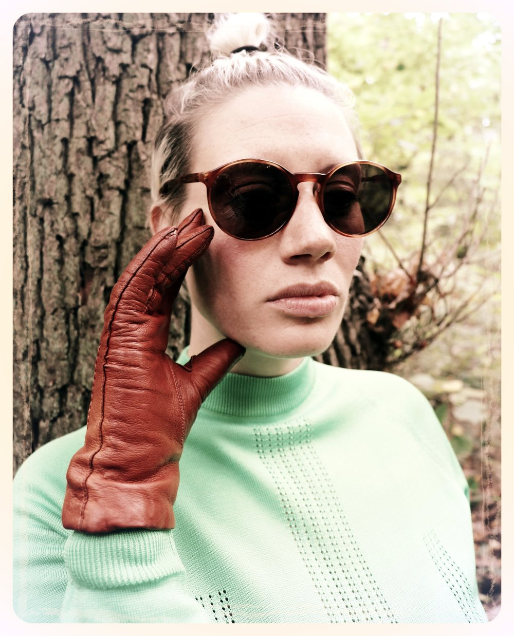 Peep Eyewear, Vintage Sunglasses, 1960s, Aubrey AW, Worn against a tree, Autumn Winter collection