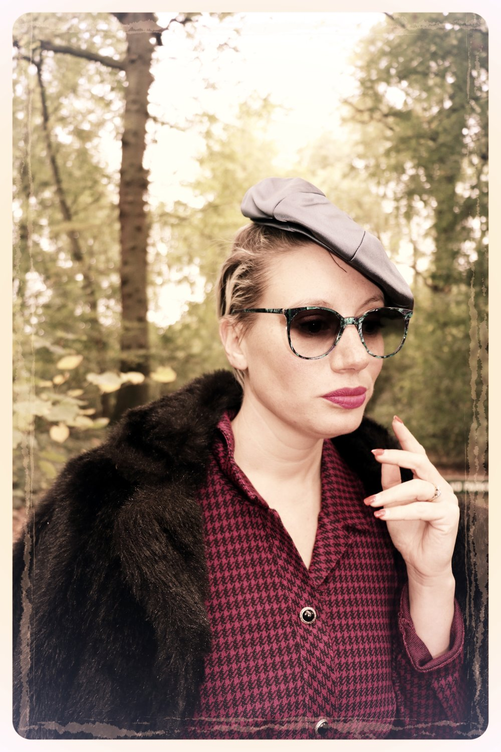 Peep Eyewear, Vintage Sunglasses, 1970s, Shore being worn in fur coat in woods, Autumn Winter Collection