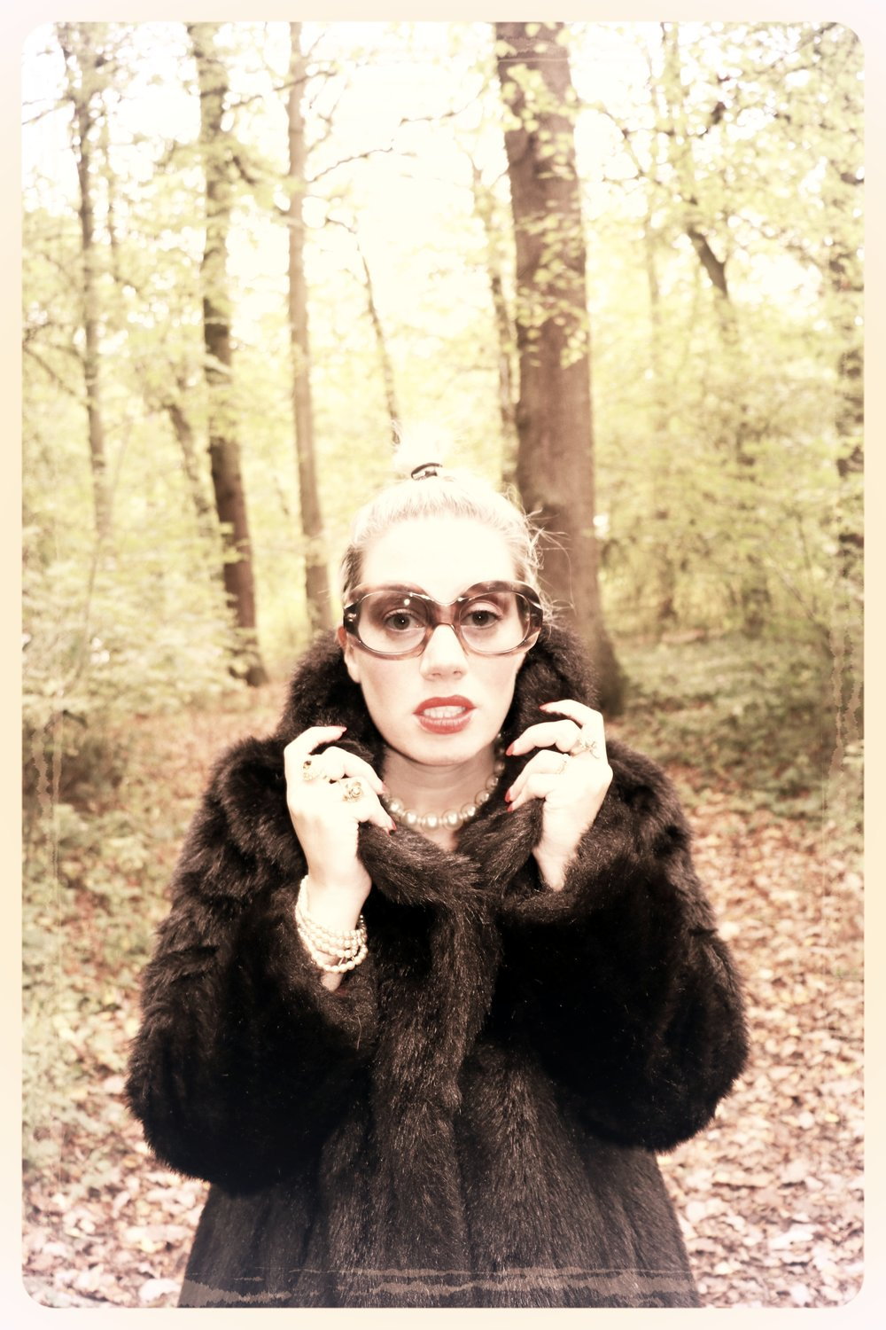 Peep Eyewear, Vintage Sunglasses, 1970s, Carrie AW vintage frames worn with fur coat, Autumn Winter Collection