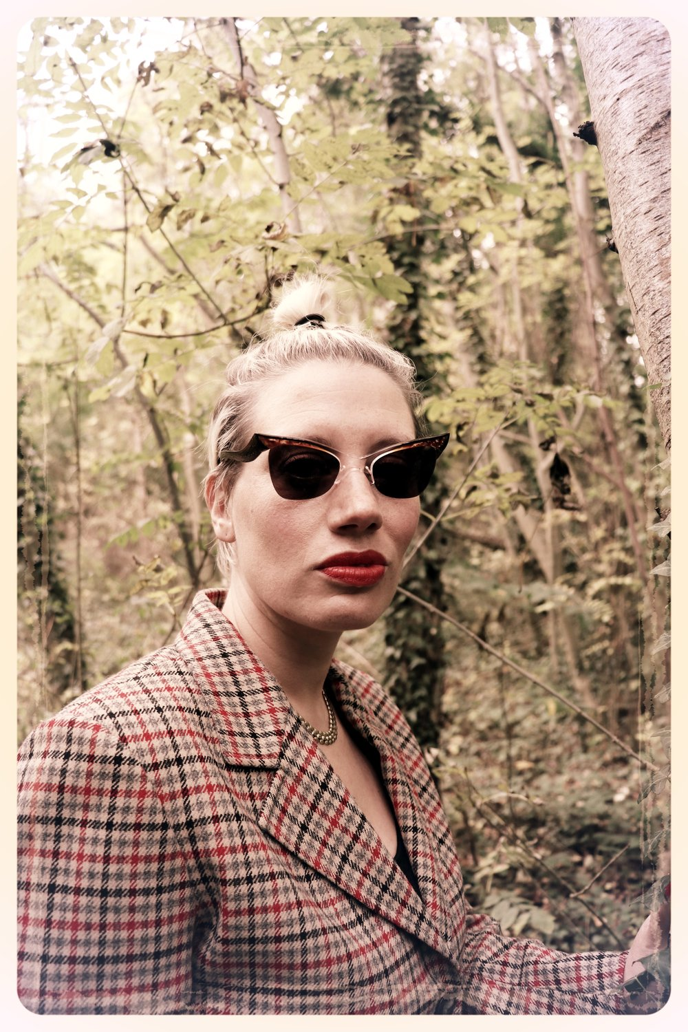Peep Eyewear, Vintage Sunglasses, 1950s, Carmel worn in the woods with tweed jacket