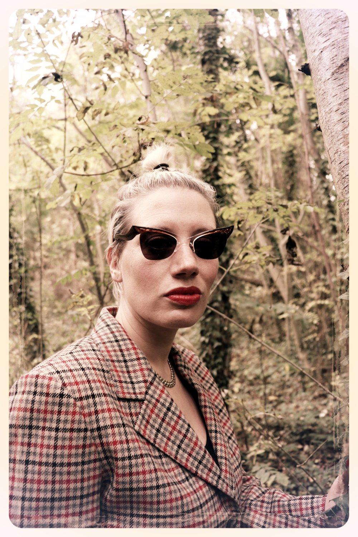 Peep Eyewear, Vintage Sunglasses, 1950s, Carmel worn in the woods with tweed jacket