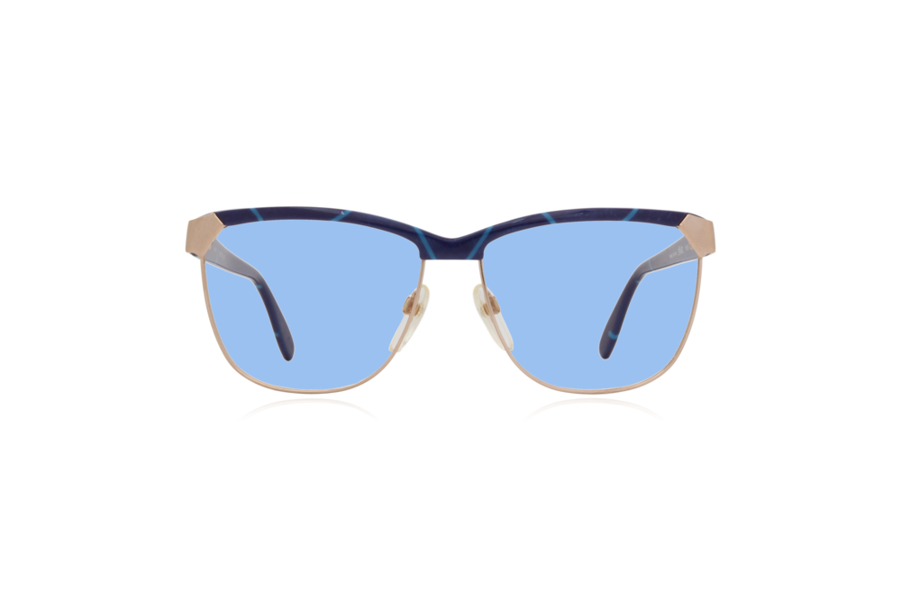 Peep Eyewear, Vintage Glasses, 80s, Silhouette 6090, Gold, Front, Blue.png