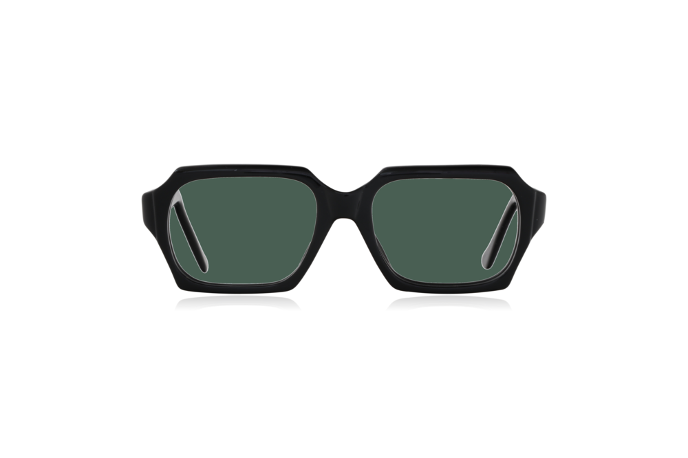 Peep Eyewear, Vintage Glasses, 1960s, Geek, Jet Black, Front, Green.png