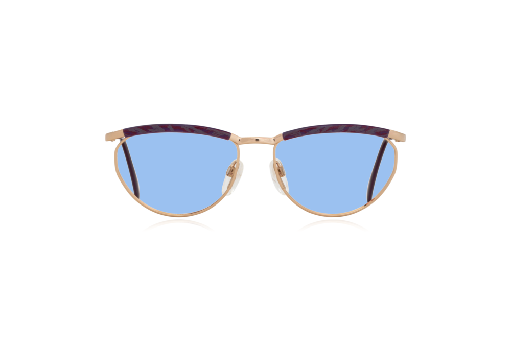 Peep Eyewear, Vintage Glasses, Silhouette 6234, 6052, Gold, Purple Frames, Front, Blue.png