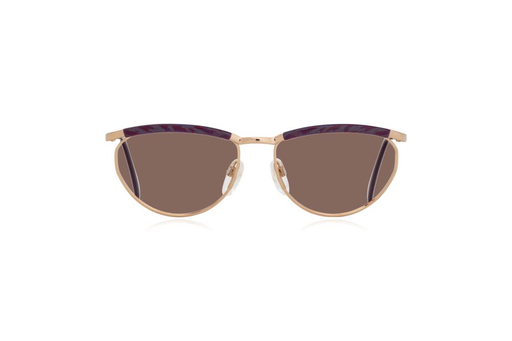 Peep Eyewear, Vintage Glasses, Silhouette 6234, 6052, Gold, Purple Frames, Front, Brown.png