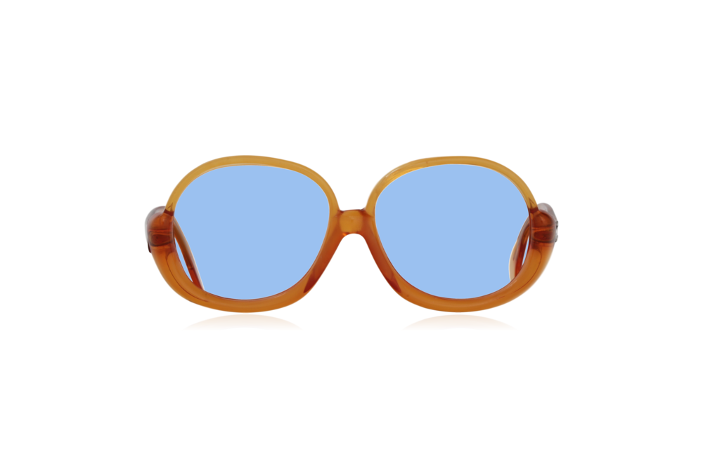 Peep Eyewear, Vintage Glasses, 1970s, Orange, Oversize, Front, Blue.png