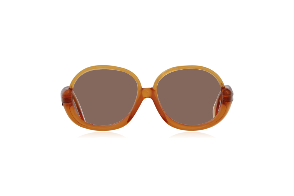 Peep Eyewear, Vintage Glasses, 1970s, Orange, Oversize, Front, Brown.png