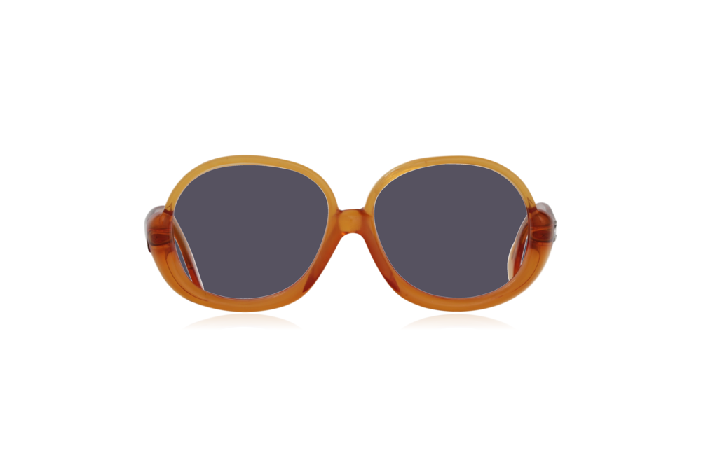 Peep Eyewear, Vintage Glasses, 1970s, Orange, Oversize, Front, Grey.png