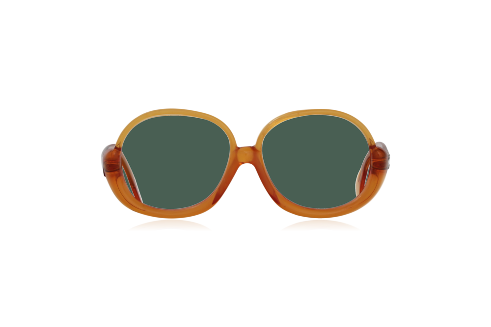Peep Eyewear, Vintage Glasses, 1970s, Orange, Oversize, Front, Green.png