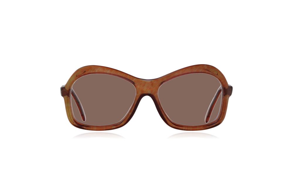 Peep Eyewear, Vintage Glasses, 1970s, Nutmeg, Oversize, Brown, Front, Brown.png