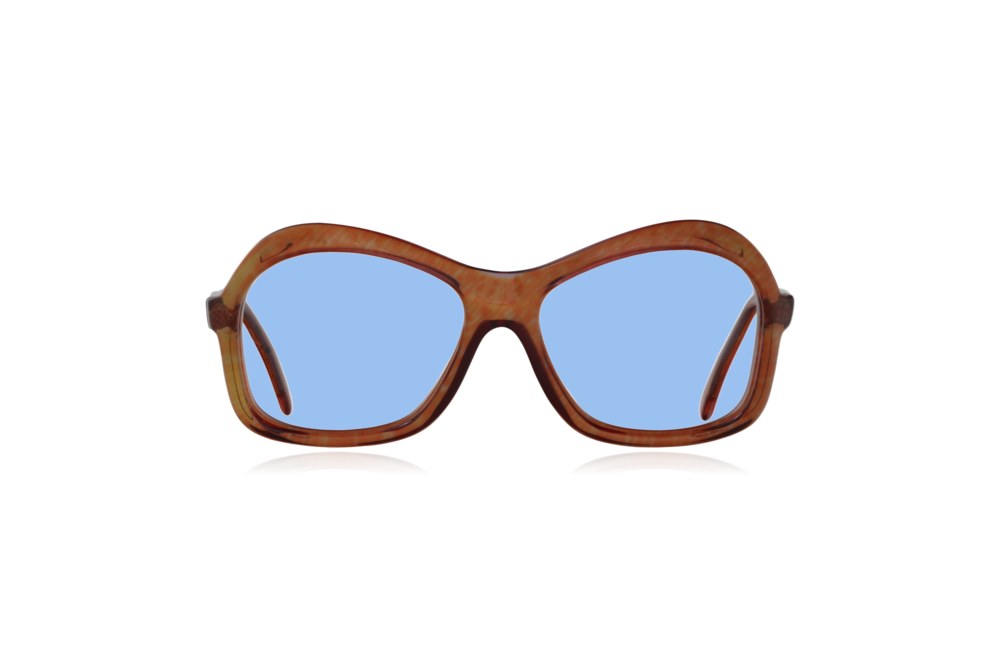 Peep Eyewear, Vintage Glasses, 1970s, Nutmeg, Oversize, Brown, Front, Blue.png
