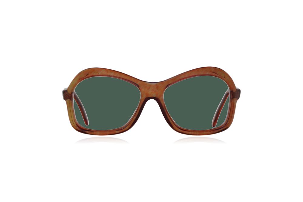 Peep Eyewear, Vintage Glasses, 1970s, Nutmeg, Oversize, Brown, Front, Green.png