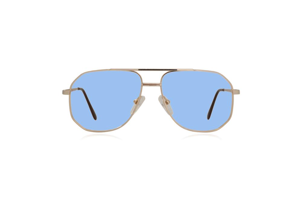 Peep Eyewear, Vintage Glasses, Aviator, Gold, Mitch, Front, Blue.png