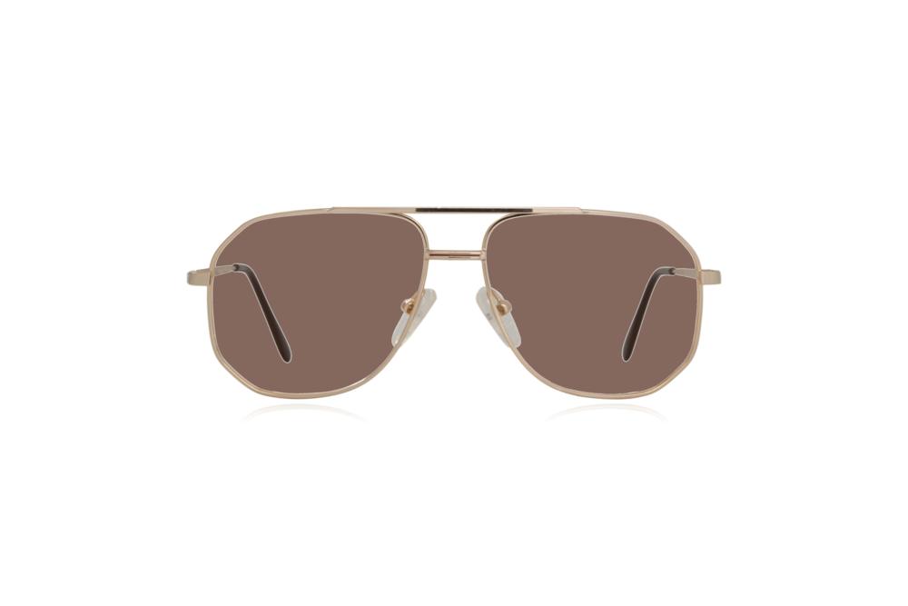 Peep Eyewear, Vintage Glasses, Aviator, Gold, Mitch, Front, Brown.png