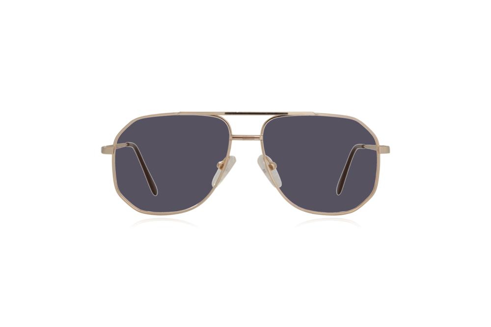 Peep Eyewear, Vintage Glasses, Aviator, Gold, Mitch, Front, Grey.png