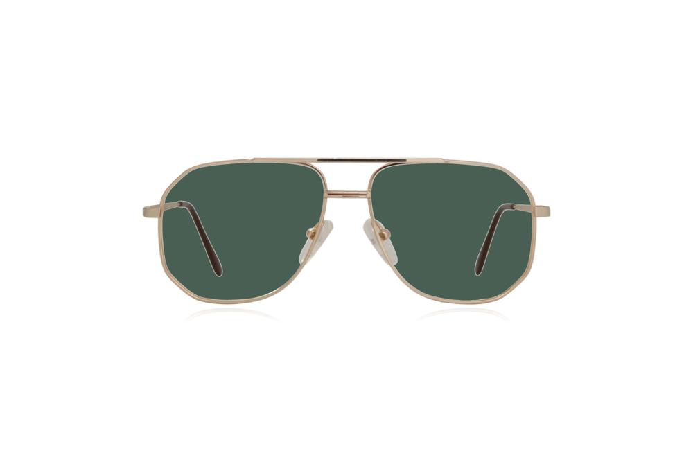 Peep Eyewear, Vintage Glasses, Aviator, Gold, Mitch, Front, Green.png
