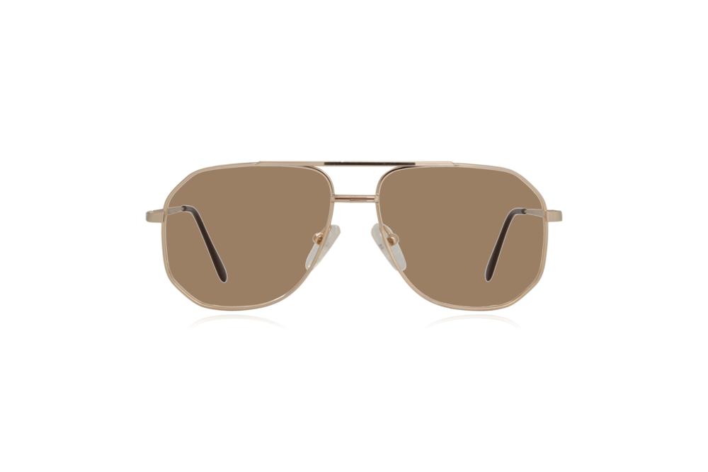 Peep Eyewear, Vintage Glasses, Aviator, Gold, Mitch, Front, Sahara.png