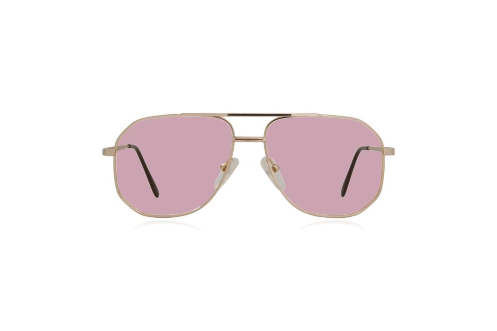Peep Eyewear, Vintage Glasses, Aviator, Gold, Mitch, Front, Pink.png