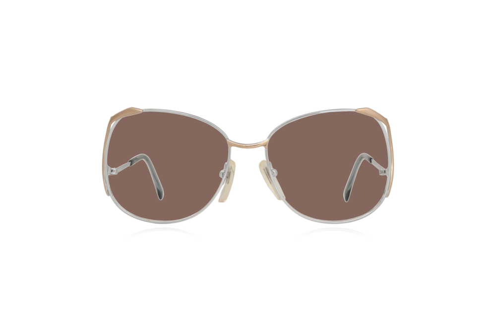 Peep Eyewear, Vintage Glasses, Skaga, Eva, Metal, Silver & Gold, Front, Brown.png