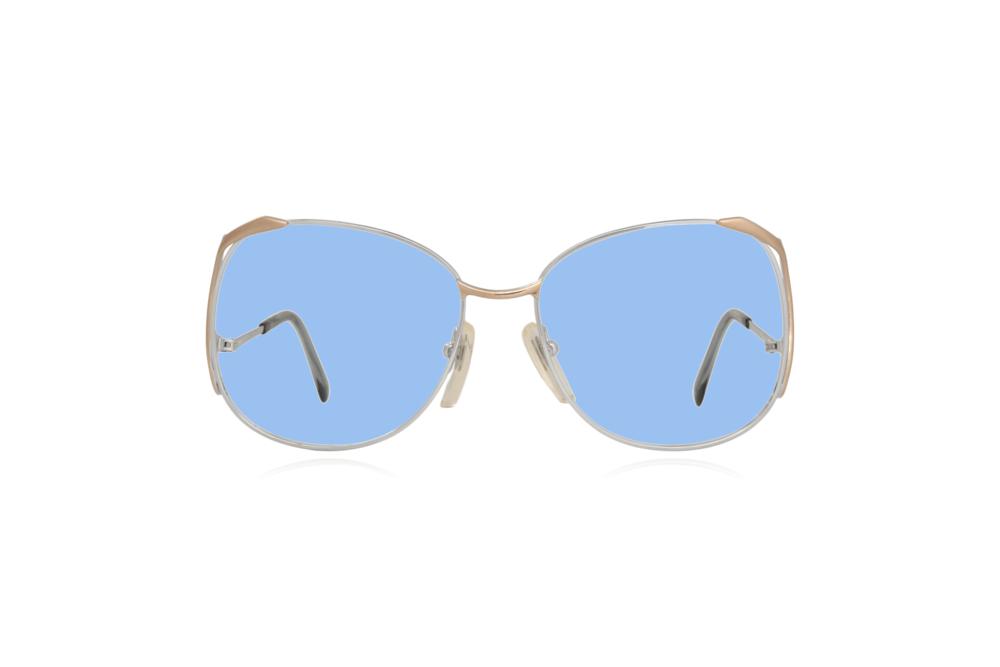 Peep Eyewear, Vintage Glasses, Skaga, Eva, Metal, Silver & Gold, Front, Blue.png