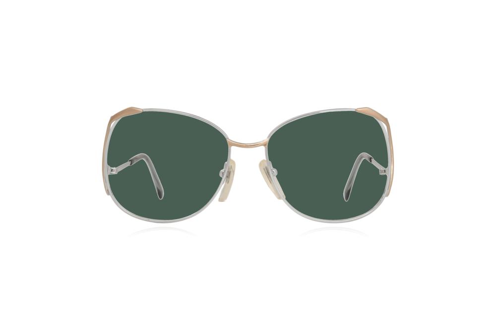 Peep Eyewear, Vintage Glasses, Skaga, Eva, Metal, Silver & Gold, Front, Green.png