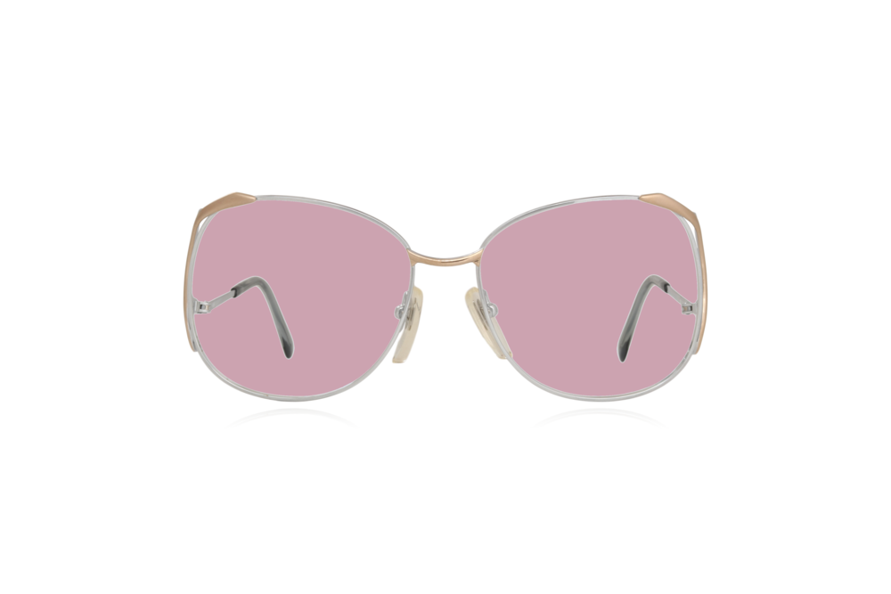 Peep Eyewear, Vintage Glasses, Skaga, Eva, Metal, Silver & Gold, Front, Pink.png