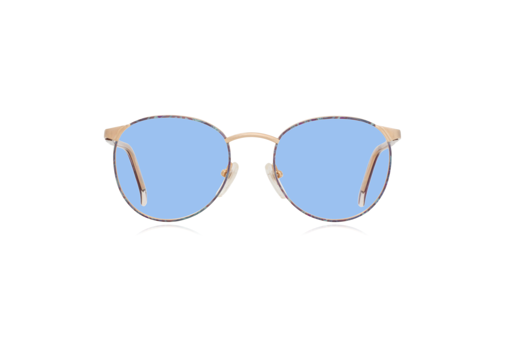 Peep Eyewear, Vintage Glasses, Cambridge Collection, CC10, C3, 52.20, Gold & Purple Round Metal, Front, Blue.png