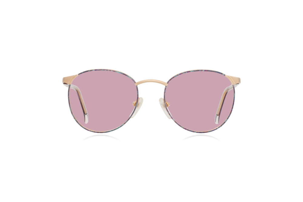 Peep Eyewear, Vintage Glasses, Cambridge Collection, CC10, C3, 52.20, Gold & Purple Round Metal, Front, Pink.png