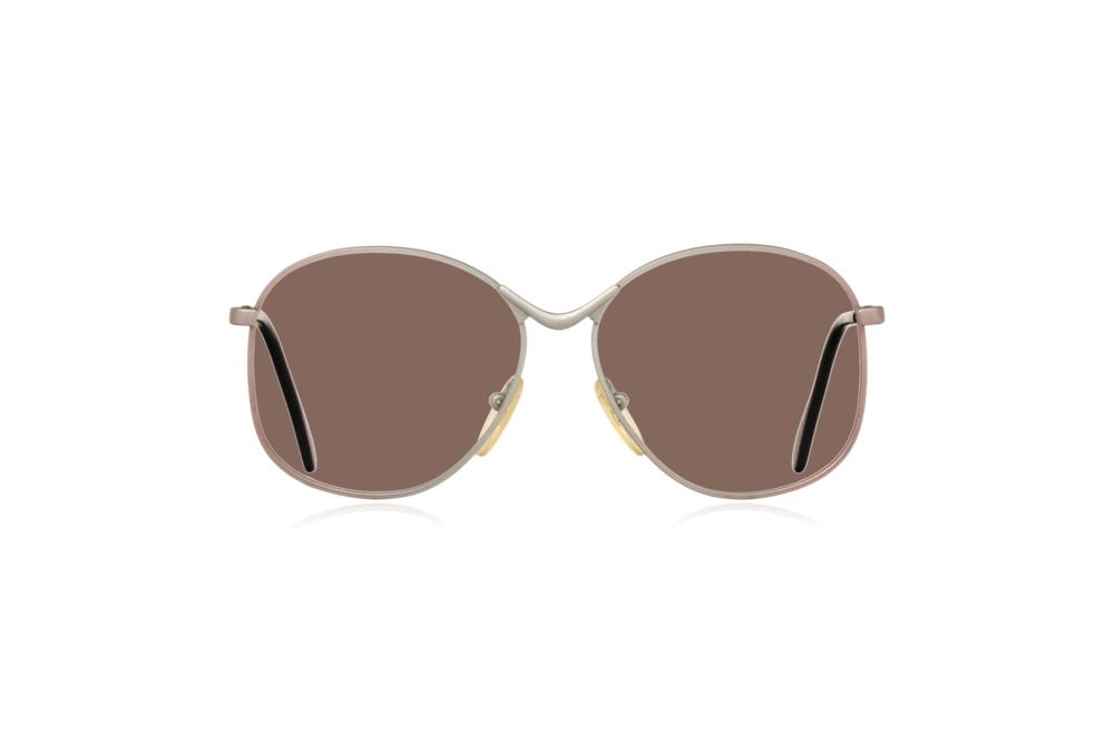 Peep Eyewear, Vintage Glasses, Metal, Silver, Birdie, Front, Brown.png