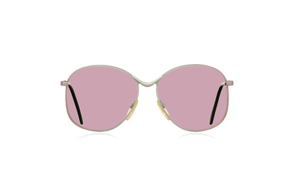 Peep Eyewear, Vintage Glasses, Metal, Silver, Birdie, Front, Pink.png