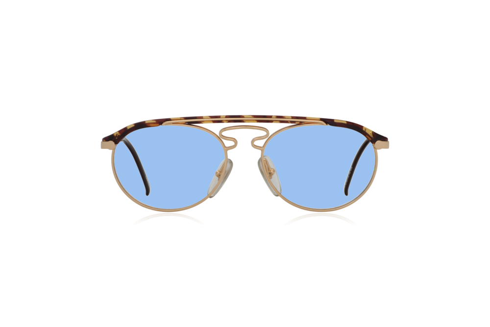 Peep Eyewear, Vintage Glasses, Hugo Boss by Carrera 5119, Gold Metal and Tort, Front, Blue.png