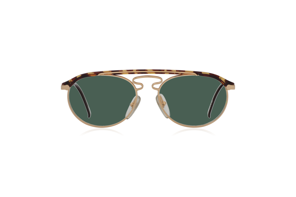 Peep Eyewear, Vintage Glasses, Hugo Boss by Carrera 5119, Gold Metal and Tort, Front, Green.png