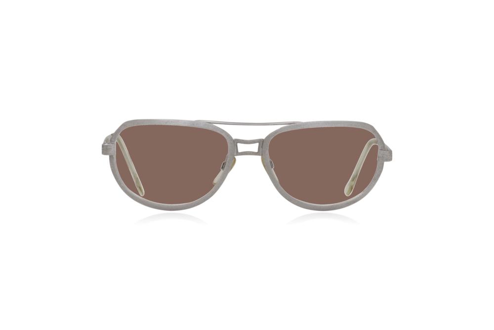 Peep Eyewear, Vintage Glasses, Metal, Silver, Ares, Front, Brown.png