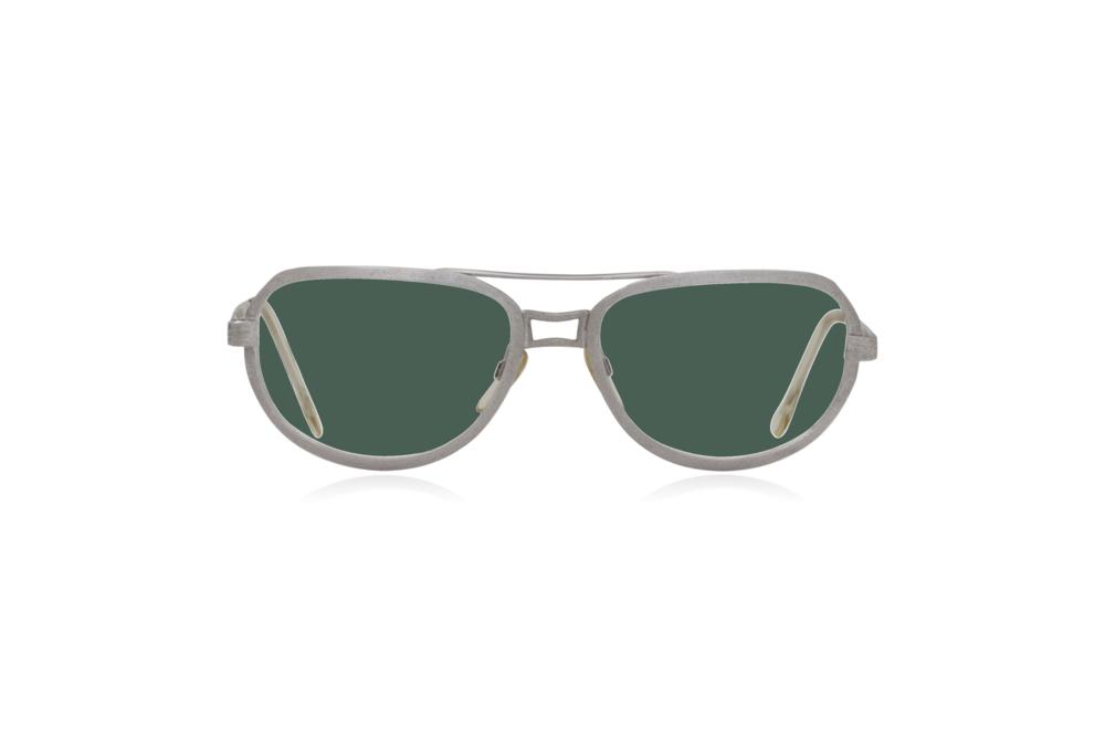 Peep Eyewear, Vintage Glasses, Metal, Silver, Ares, Front, Green.png
