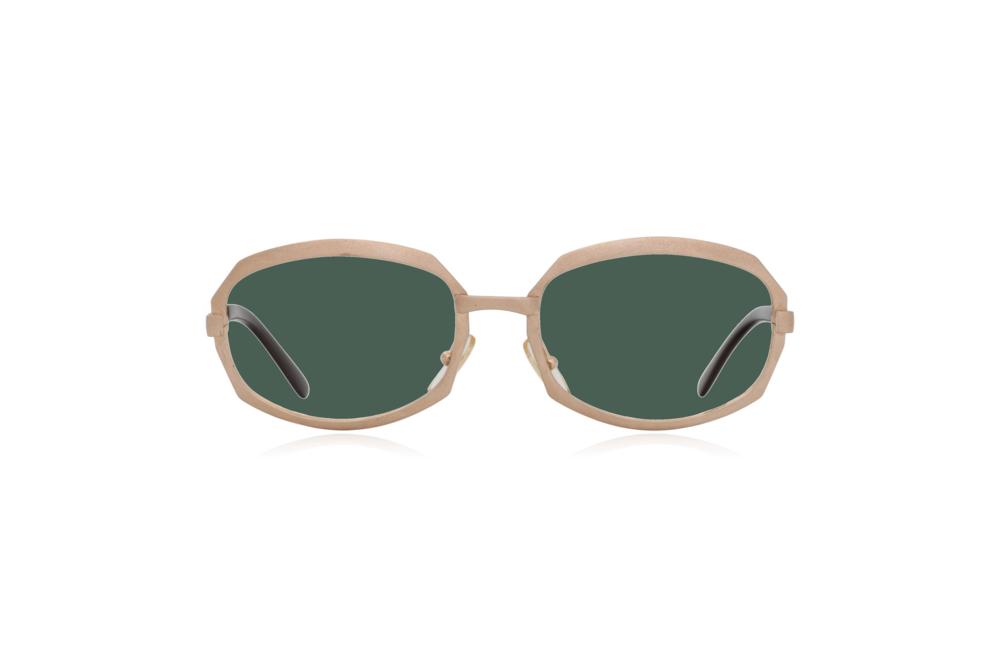 Peep Eyewear, Vintage Glasses, Gold Metal, Vicky, Cahours De Virgile, Paris, Front, Green.png