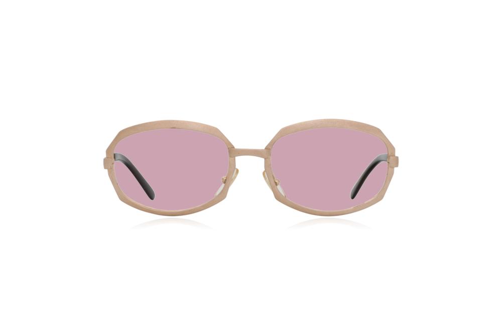 Peep Eyewear, Vintage Glasses, Gold Metal, Vicky, Cahours De Virgile, Paris, Front, Pink.png