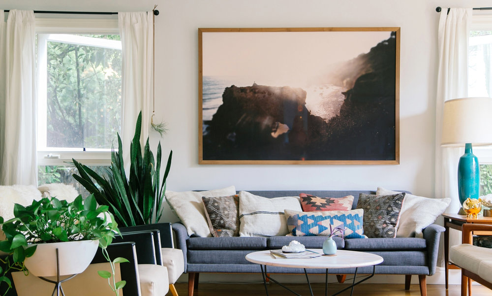 DESIGNER:  Kait Joseph , Kait is a Californian interior designer who specializes in modern bohemian design. Her work is very inspirational!  ARTWORK:  Jon Rou